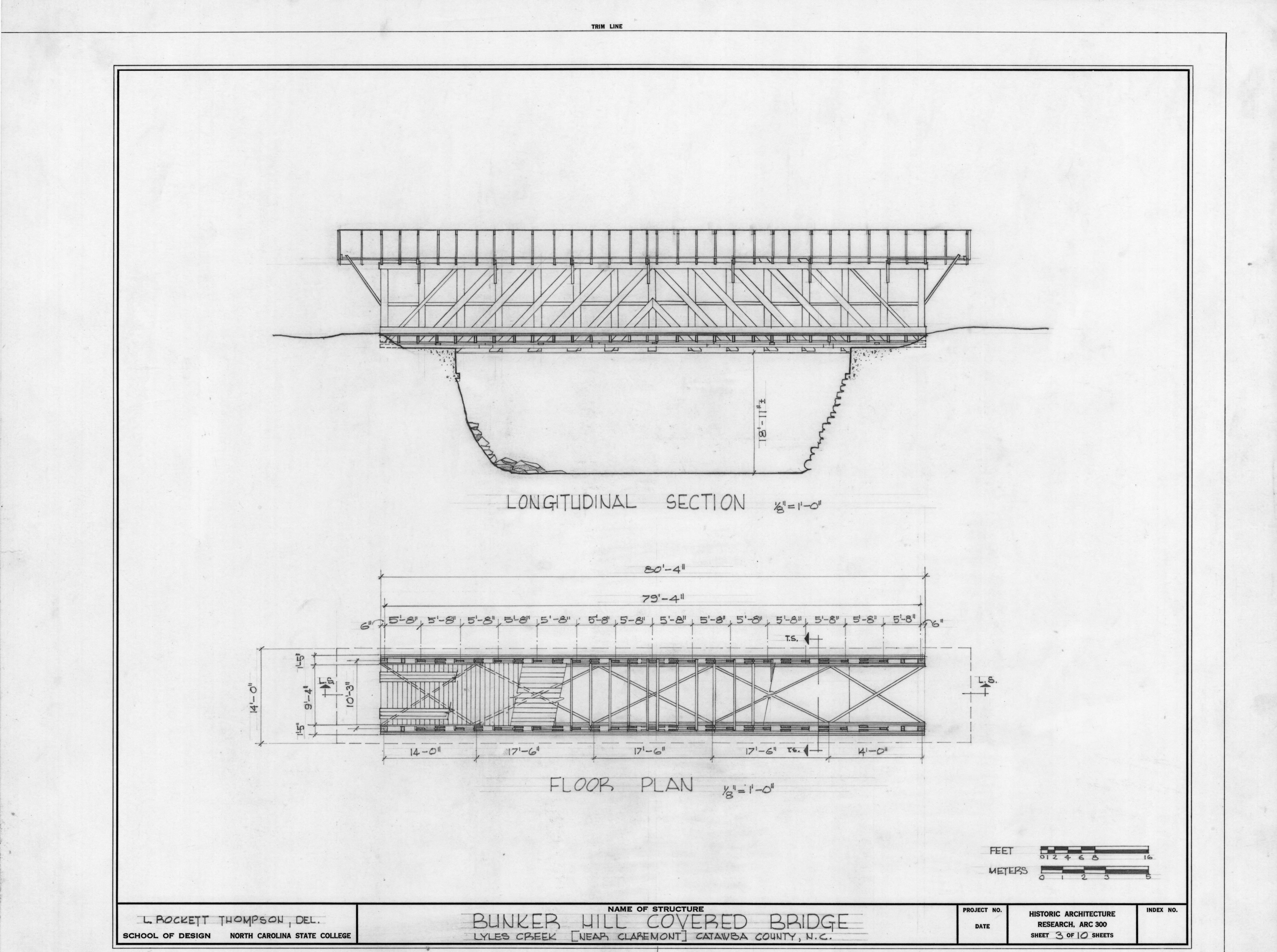 Longitudinal section and floor plan bunker hill covered for Covered bridge design plans