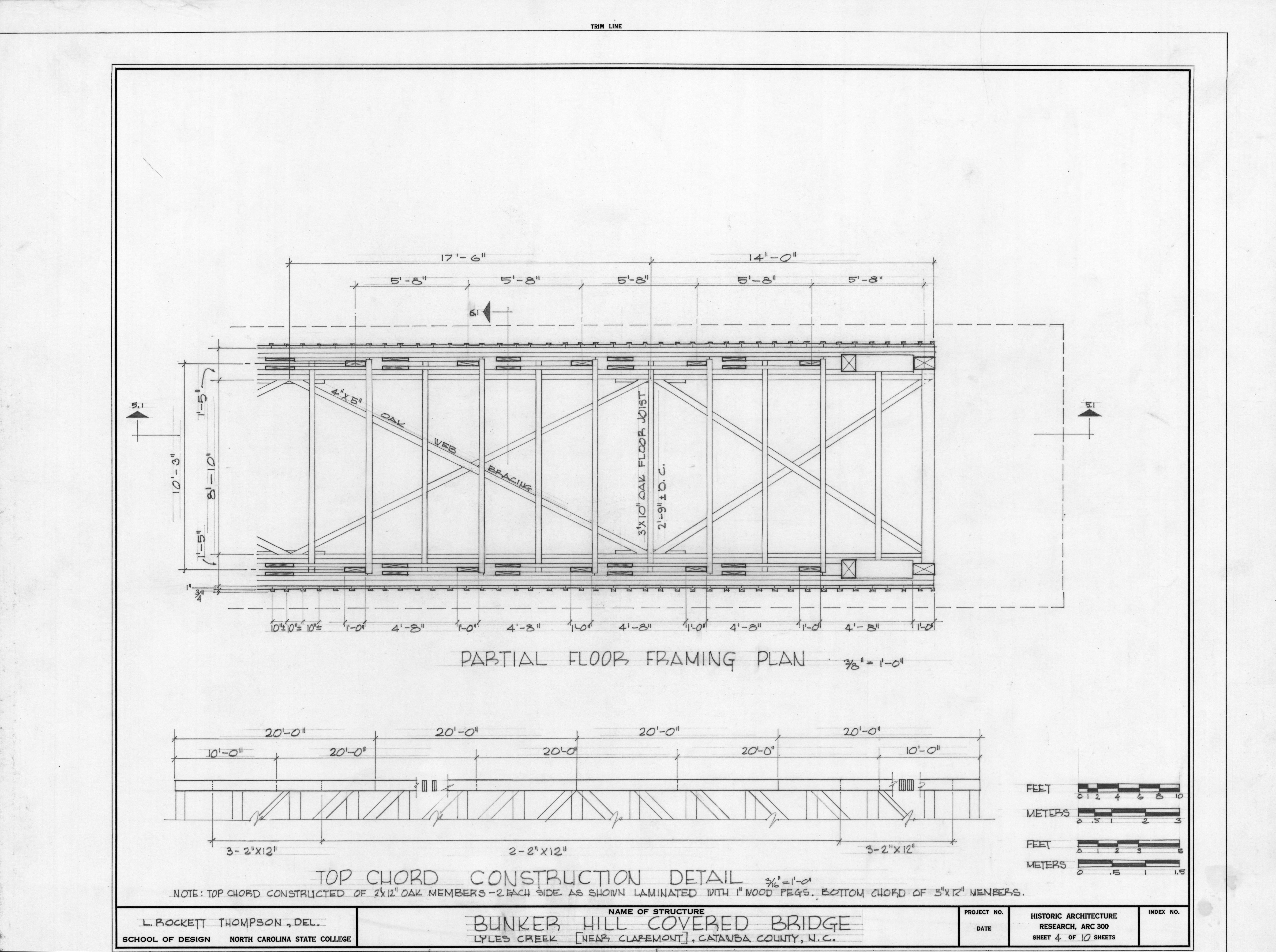 Partial framing plan and construction detail bunker hill for Covered bridge design plans