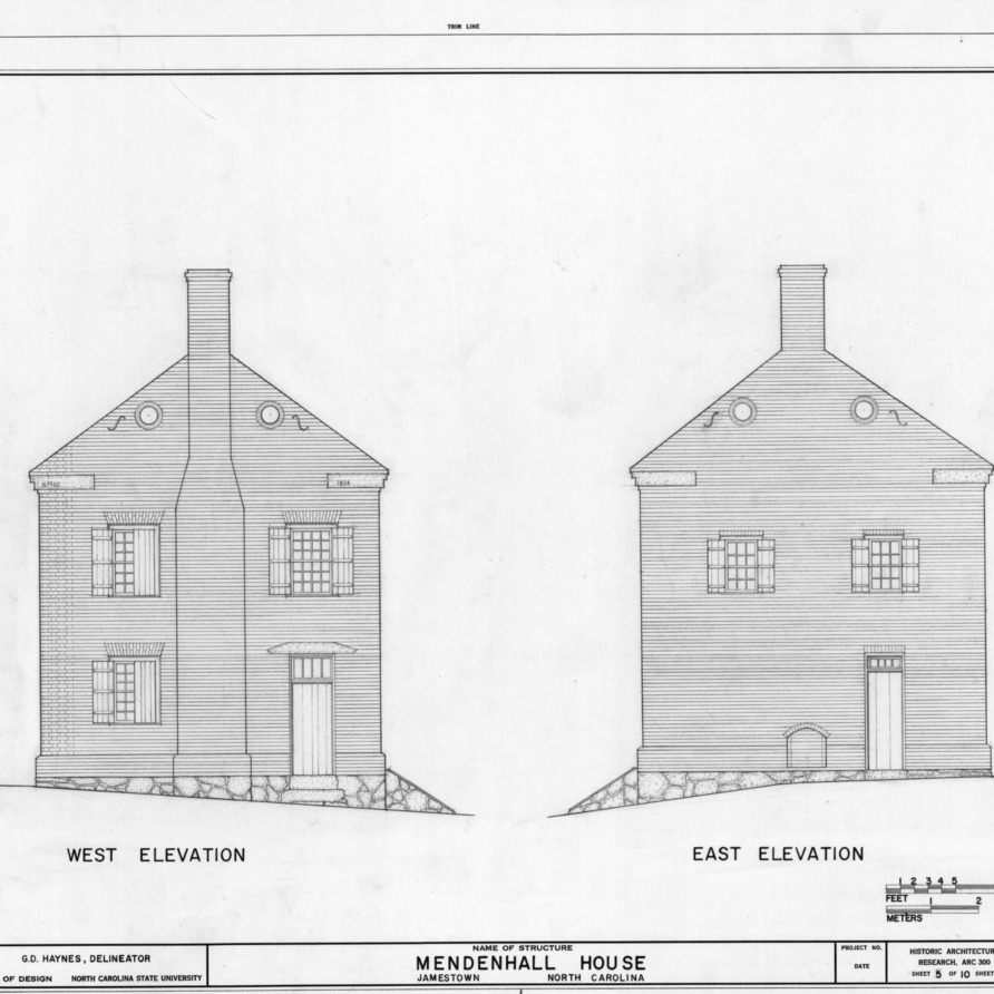 West and east elevations, Mendenhall Store, Jamestown, North Carolina