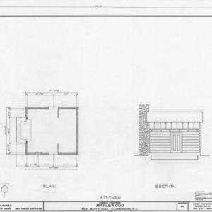 Floor plan and longitudinal section of kitchen, Maplewood, Hillsborough, North Carolina
