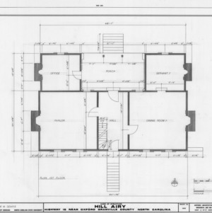 First floor plan, Hill Airy, Granville County, North Carolina