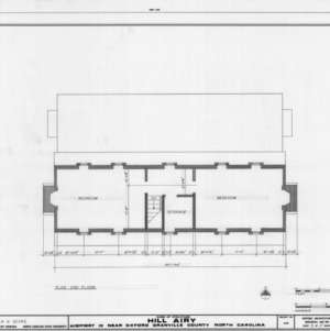 Second floor plan, Hill Airy, Granville County, North Carolina