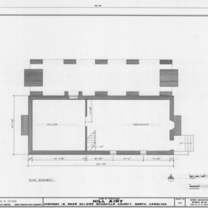 Basement plan, Hill Airy, Granville County, North Carolina
