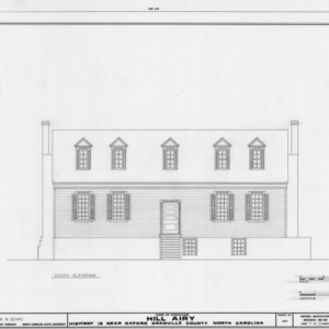 South elevation, Hill Airy, Granville County, North Carolina