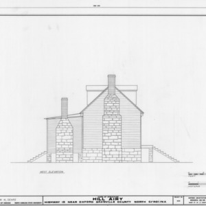 West elevation, Hill Airy, Granville County, North Carolina