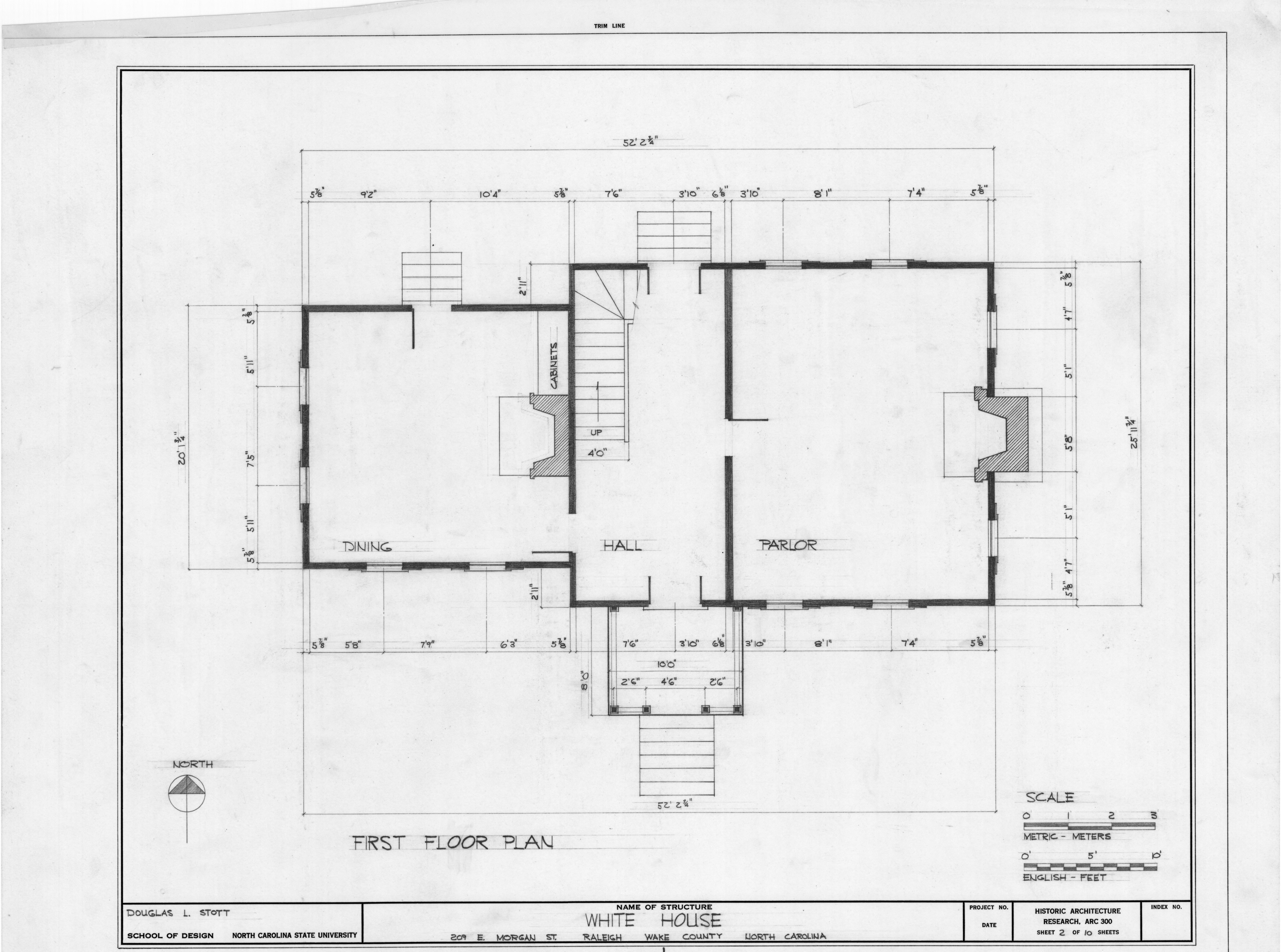 First Floor Plan White Holman House Raleigh North
