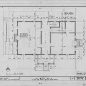 First floor plan, Haywood Hall, Raleigh, North Carolina