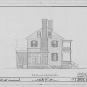 West elevation, Haywood Hall, Raleigh, North Carolina