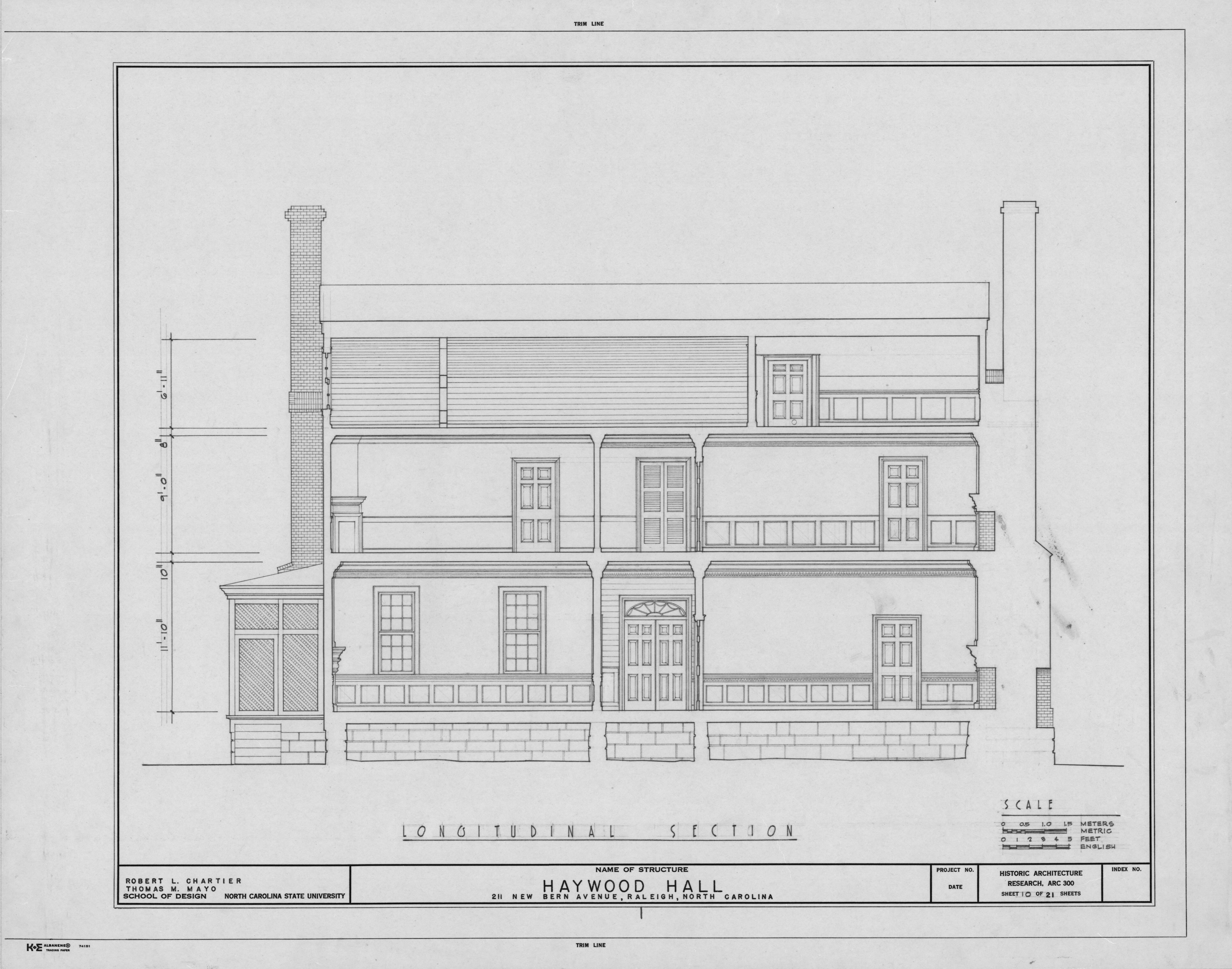 Longitudinal section, Haywood Hall, Raleigh, North Carolina