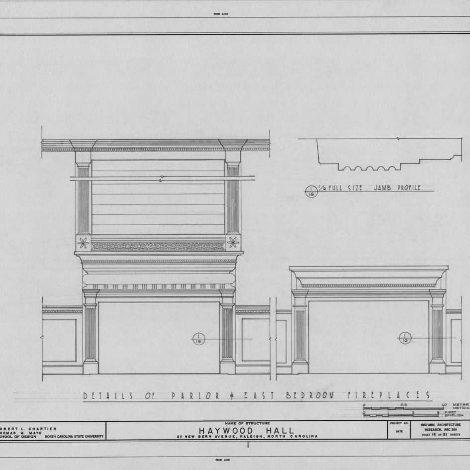 Fireplace details, Haywood Hall, Raleigh, North Carolina