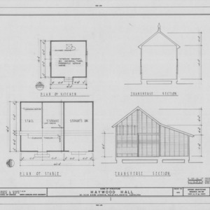 Kitchen and stable floor plans and cross sections, Haywood Hall, Raleigh, North Carolina