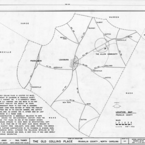 Location map and notes, Collins House, Franklin County, North Carolina