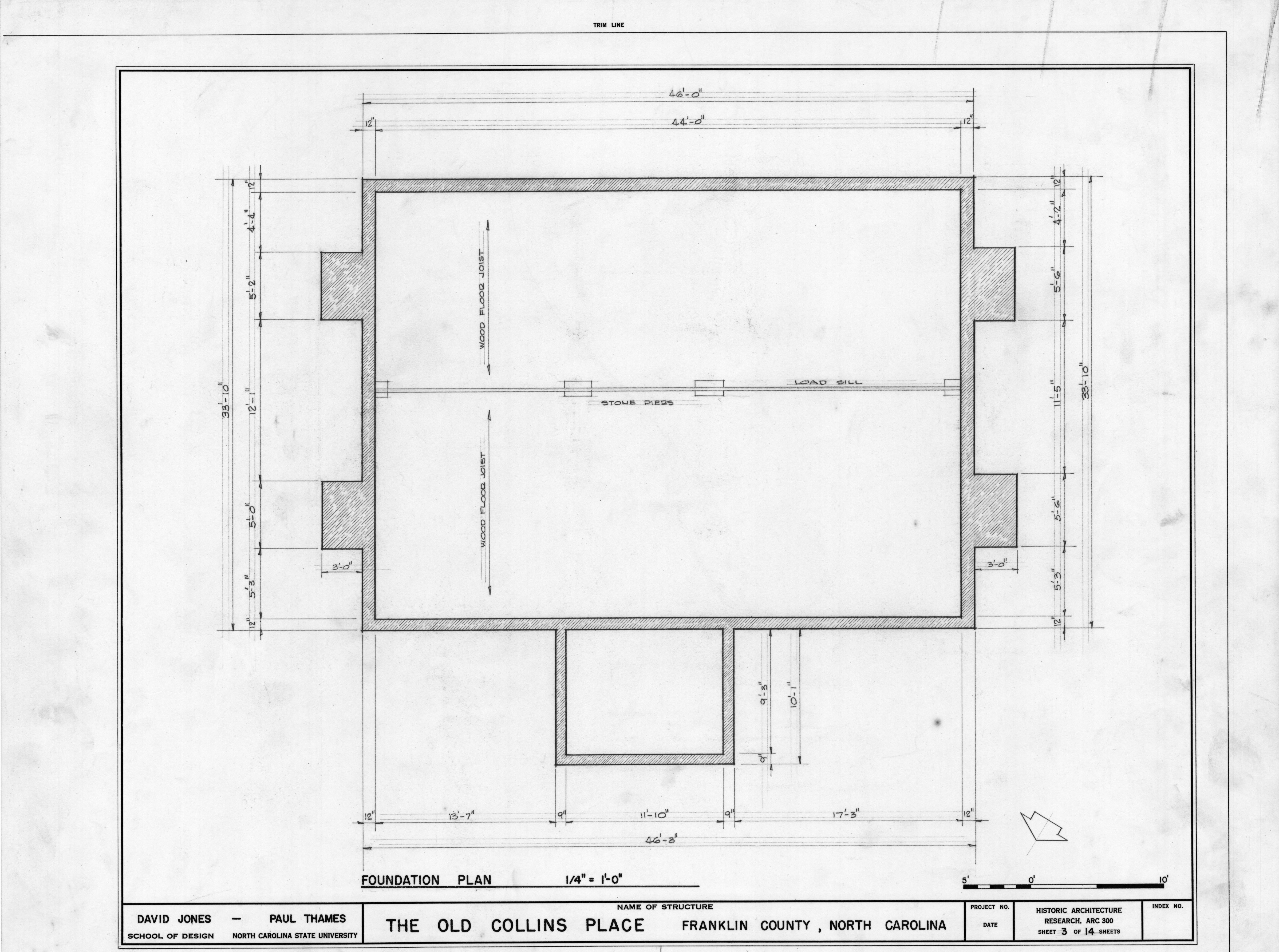 Foundation Plan Collins House Franklin County North