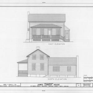 East and north elevations, Longest House, Beaufort, North Carolina