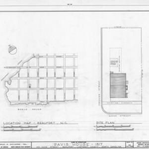 Site plan and location map, Davis House, Beaufort, North Carolina