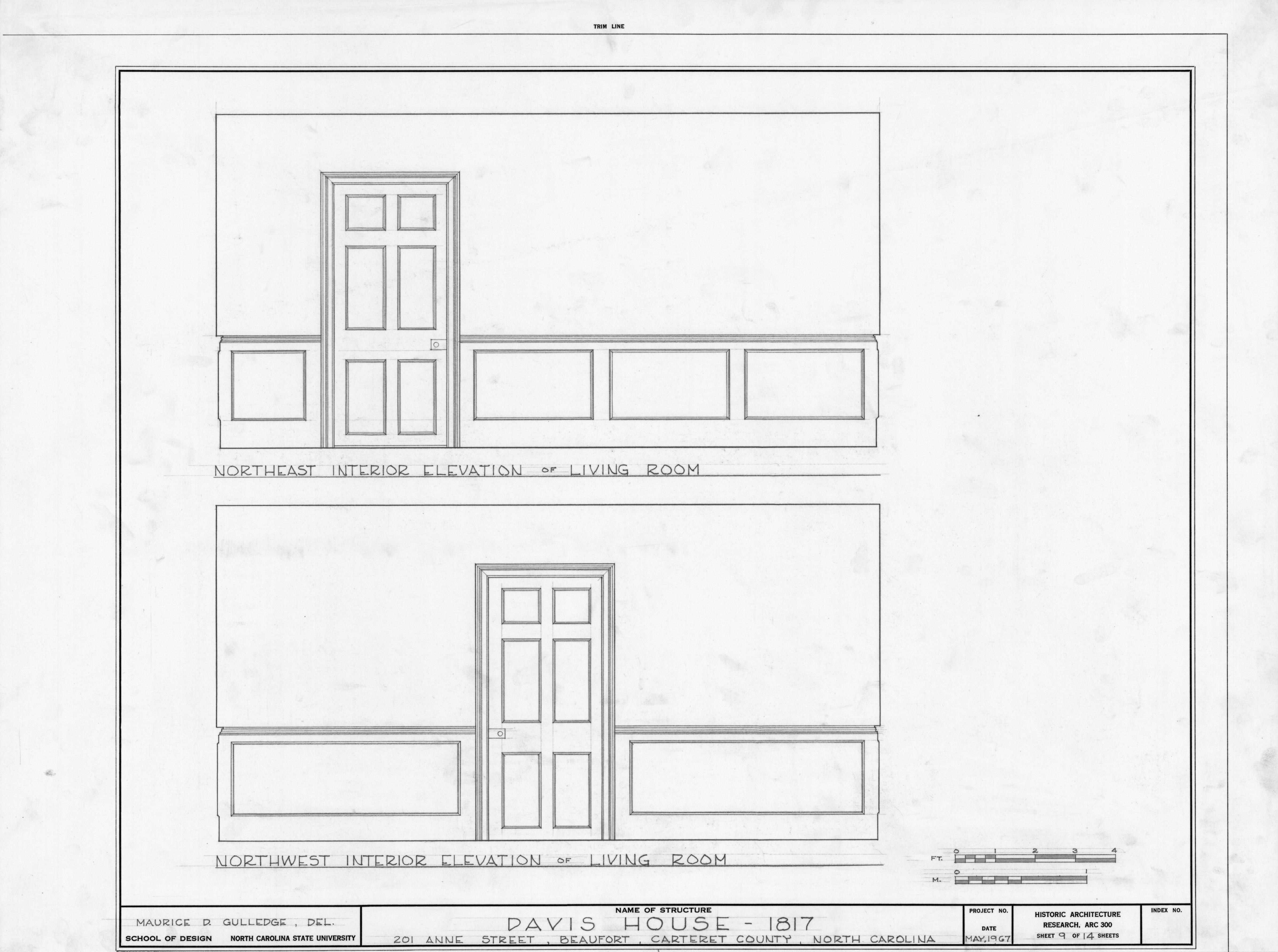 Living room interior elevations davis house beaufort for Living room elevation
