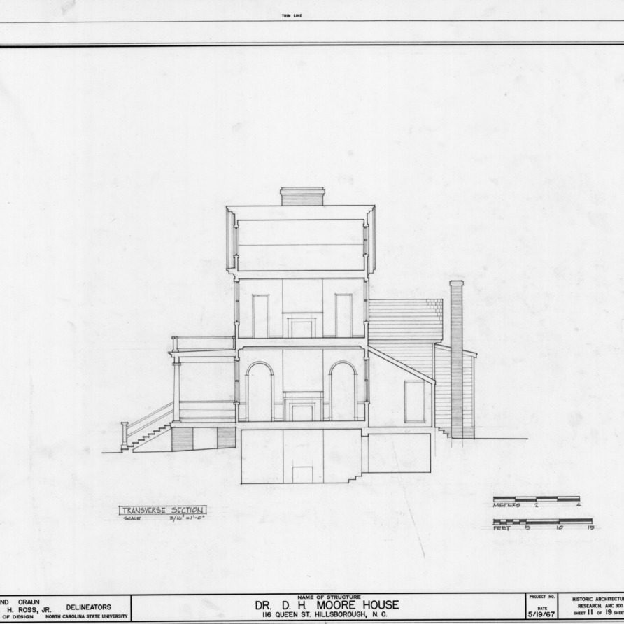 Cross section, Hasell-Nash House, Hillsborough, North Carolina