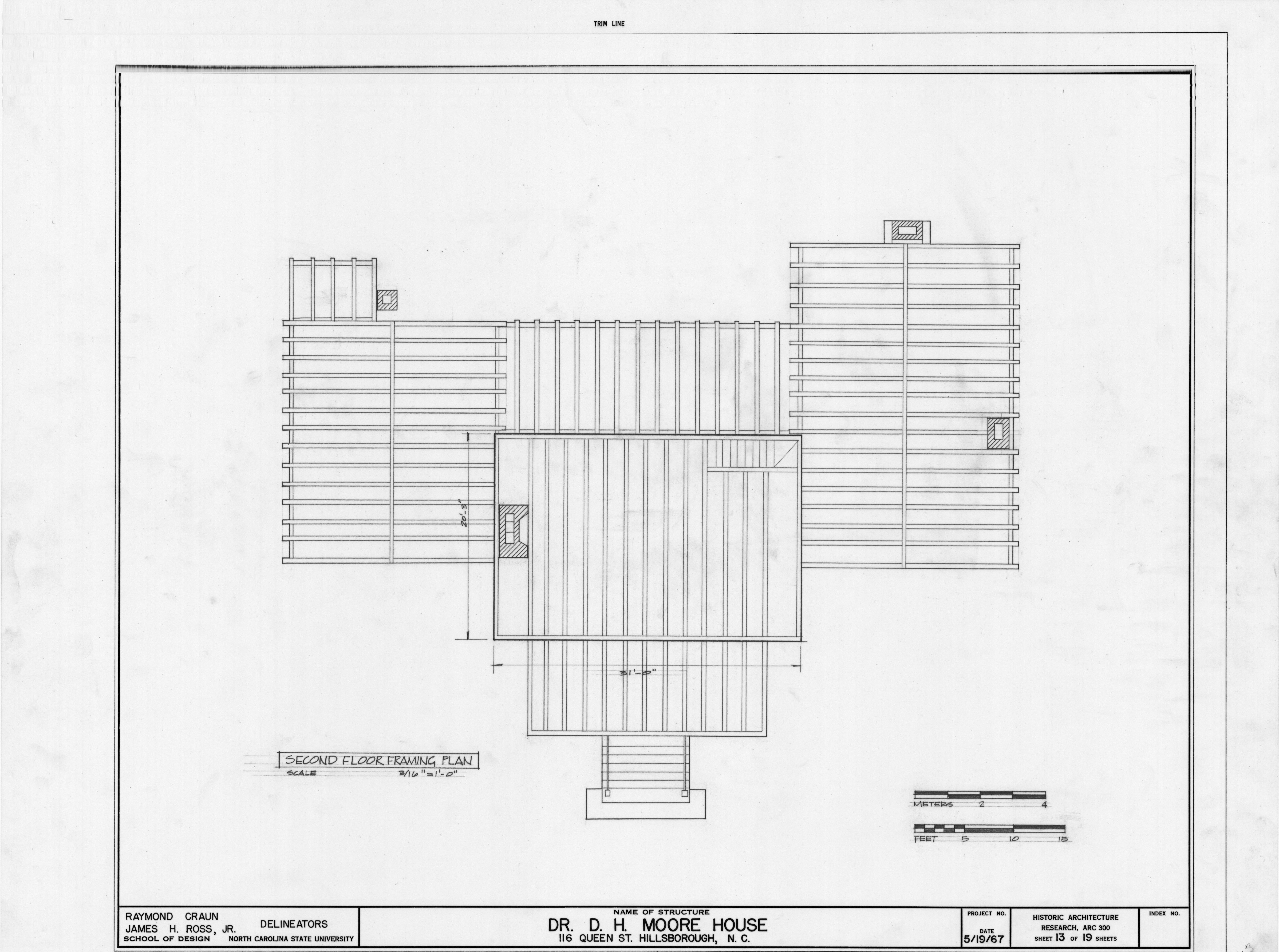 second floor framing plan hasell nash house hillsborough