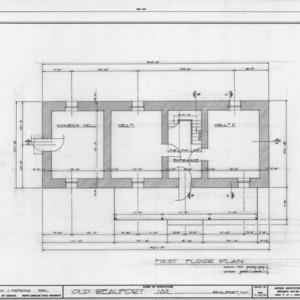 First floor plan, Old Jail, Beaufort, North Carolina