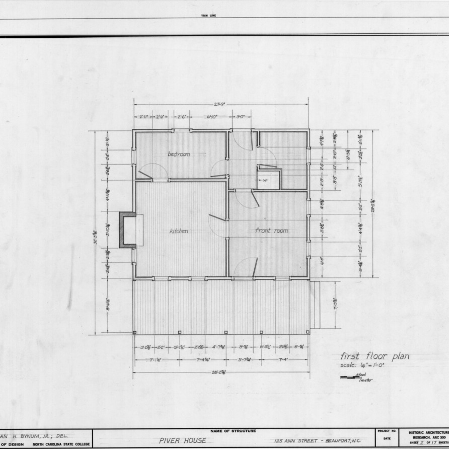 First floor plan, Jesse Piver House, Beaufort, North Carolina