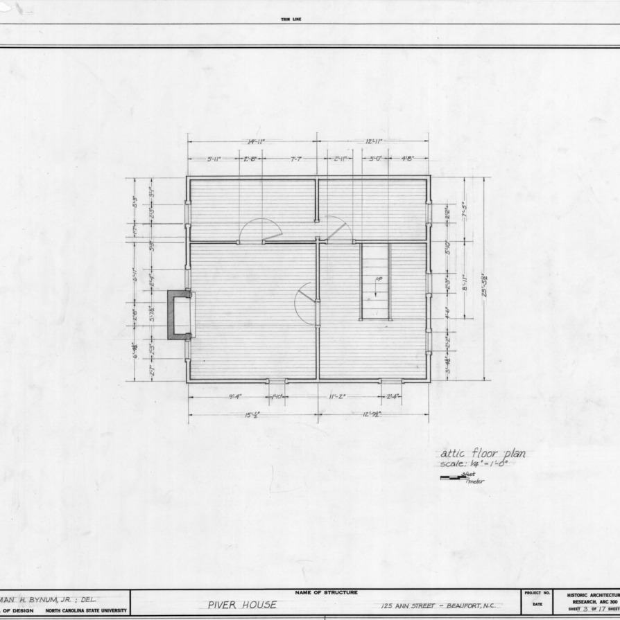 Attic plan, Jesse Piver House, Beaufort, North Carolina