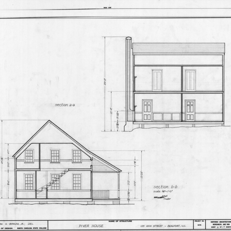 Longitudinal and cross sections, Jesse Piver House, Beaufort, North Carolina