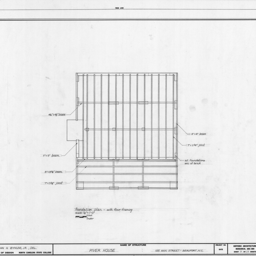 Foundation plan, Jesse Piver House, Beaufort, North Carolina