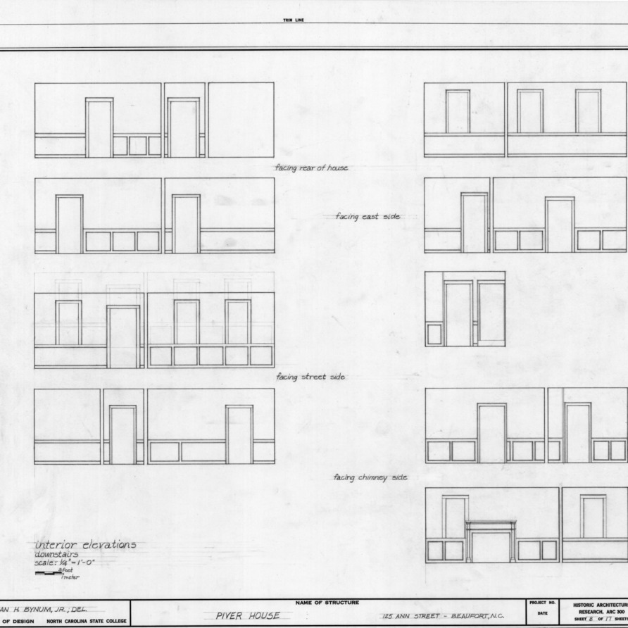 Interior elevations, Jesse Piver House, Beaufort, North Carolina