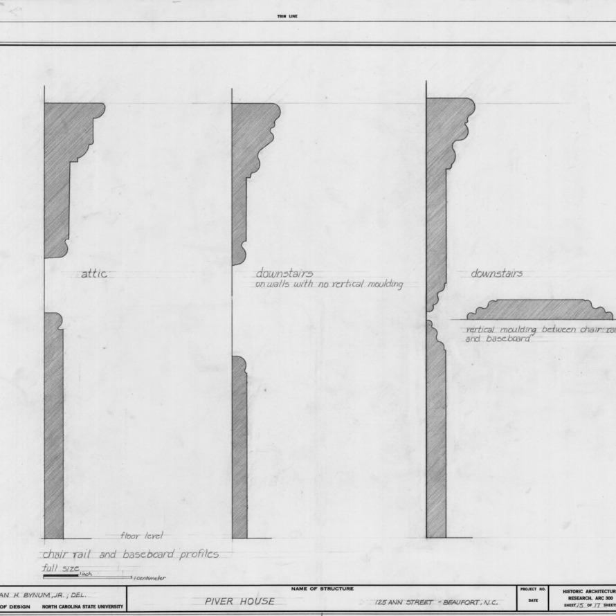 Interior trim profiles, Jesse Piver House, Beaufort, North Carolina