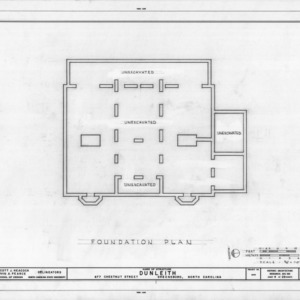 Foundation plan, Dunleith, Greensboro, North Carolina