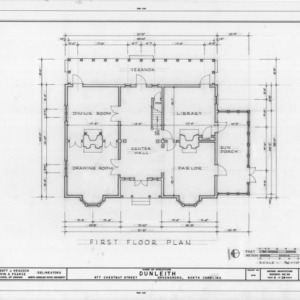 First floor plan, Dunleith, Greensboro, North Carolina