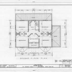Second floor plan, Dunleith, Greensboro, North Carolina
