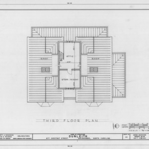 Third floor plan, Dunleith, Greensboro, North Carolina