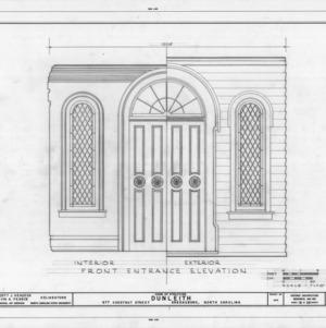 Front entrance detail, Dunleith, Greensboro, North Carolina
