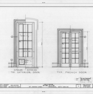 Exterior and French door details, Dunleith, Greensboro, North Carolina