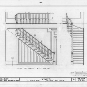 First floor stairway details, Dunleith, Greensboro, North Carolina