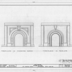 Fireplace details, Dunleith, Greensboro, North Carolina