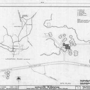 Location map and site plan, Norwood Plantation, Wake County, North Carolina
