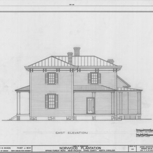 East elevation, Norwood Plantation, Wake County, North Carolina