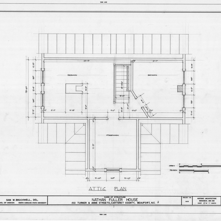 Attic plan, Fuller House, Beaufort, North Carolina