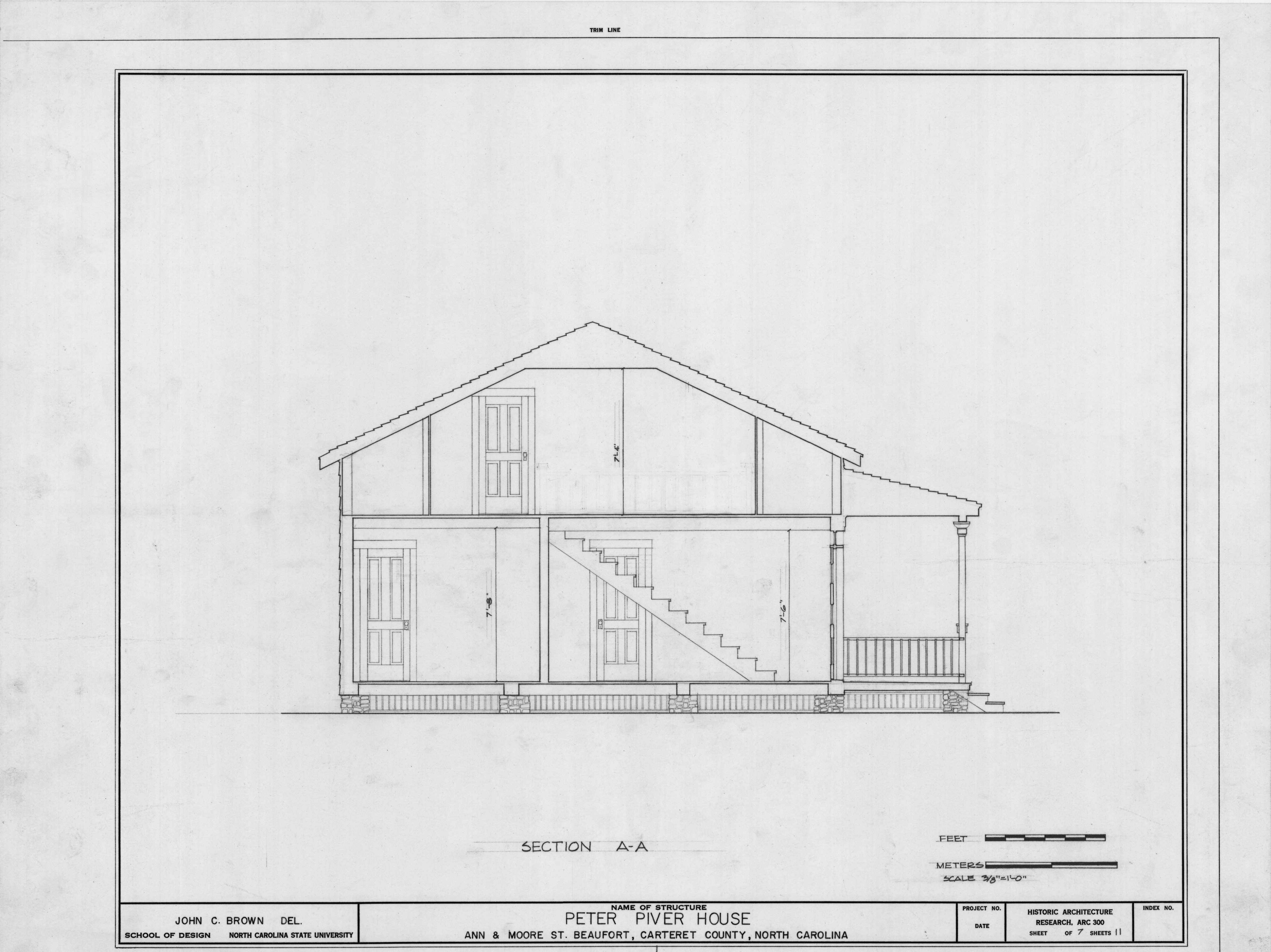 Cross section, Peter Piver House, Beaufort, North Carolina