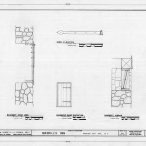 Basement door and window details, Sherrill's Inn, Buncombe County, North Carolina