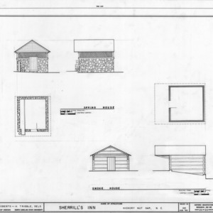 Springhouse and smokehouse plans and elevations, Sherrill's Inn, Buncombe County, North Carolina