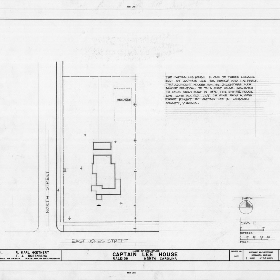 Site plan with notes, Heck-Lee House, Raleigh, North Carolina