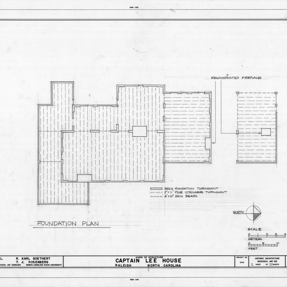 Foundation plan, Heck-Lee House, Raleigh, North Carolina