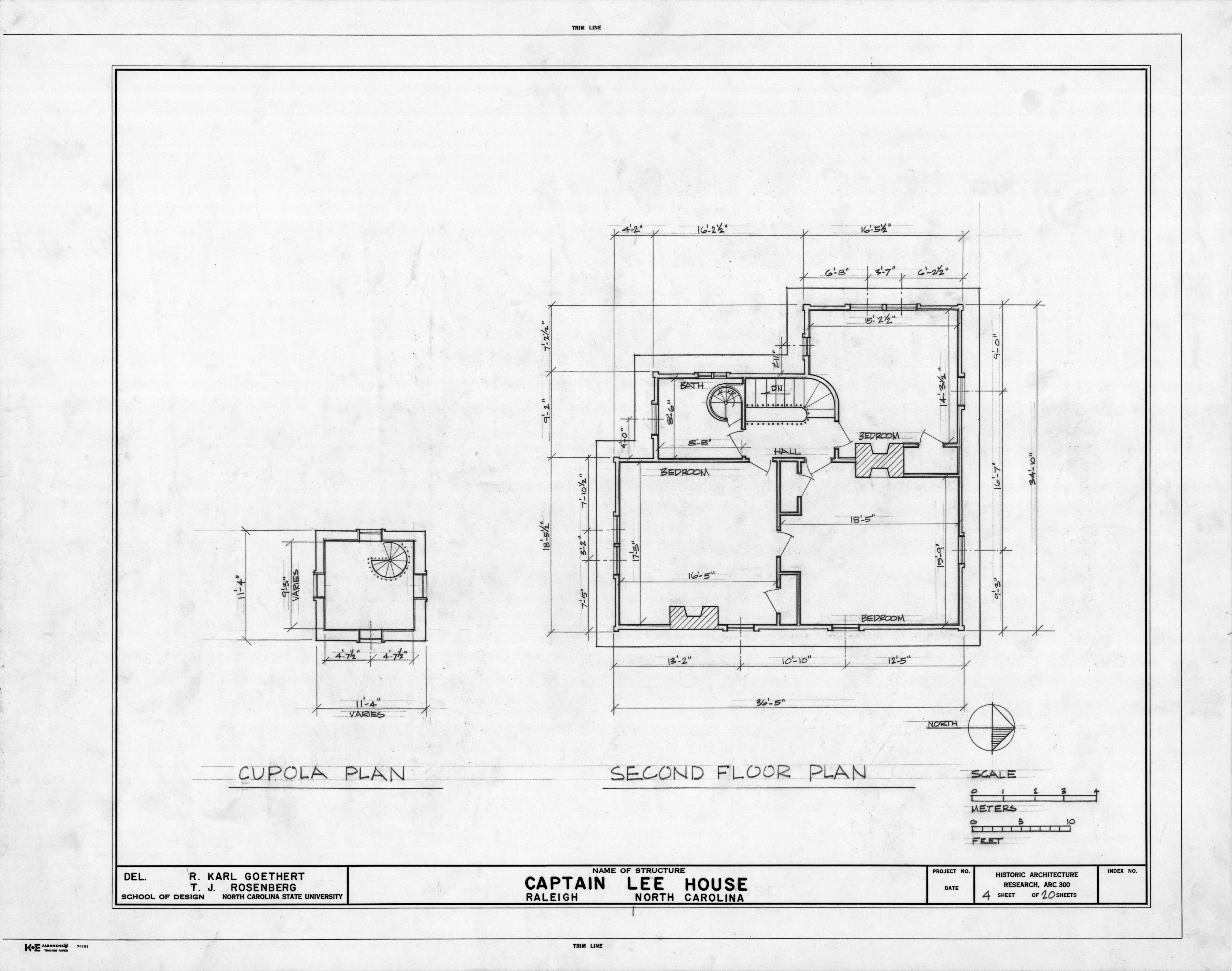 Cupola And Second Floor Plans Heck Lee House Raleigh