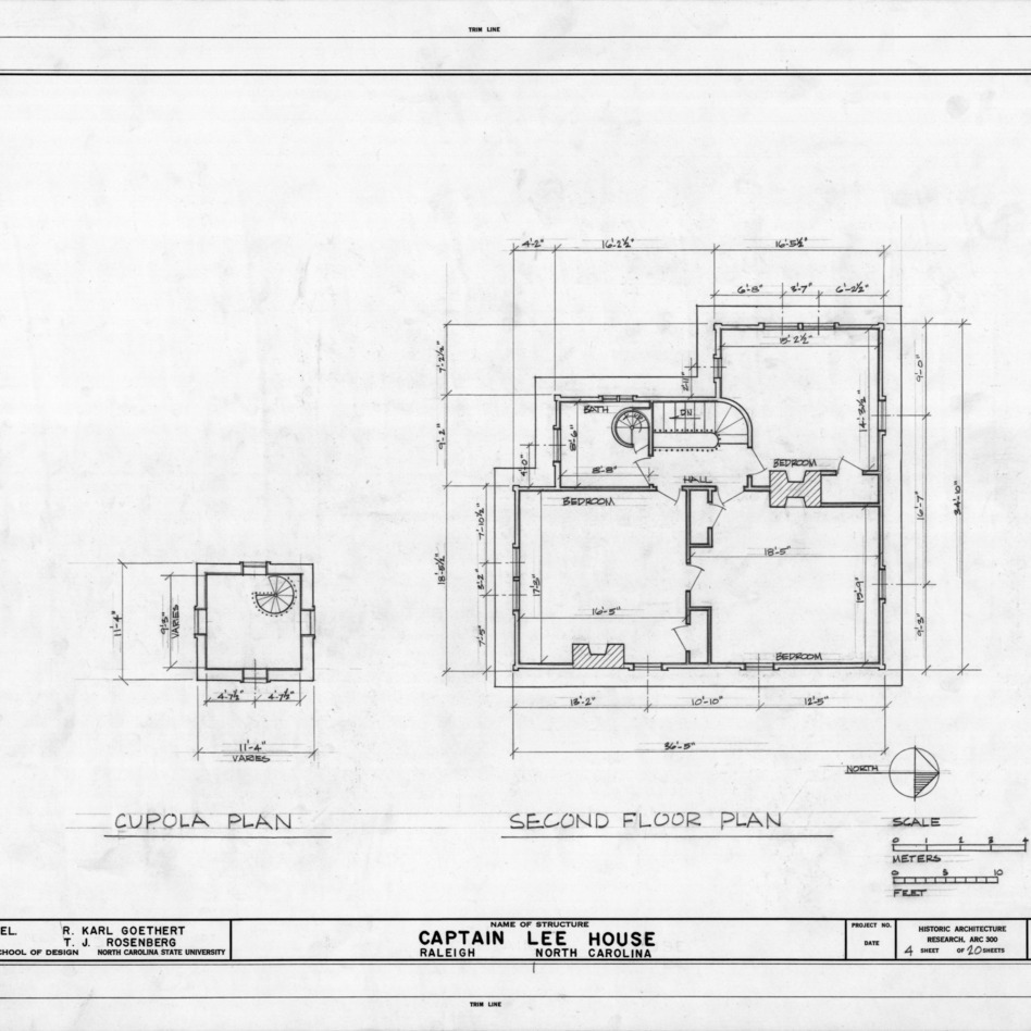 Cupola and second floor plans, Heck-Lee House, Raleigh, North Carolina