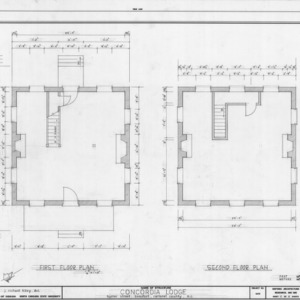 First and second floor plans, Odd Fellows Lodge, Beaufort, North Carolina