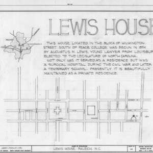 Title page with site plan and notes, Lewis-Smith House, Raleigh, North Carolina