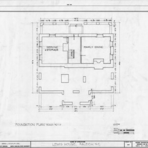 Foundation plan, Lewis-Smith House, Raleigh, North Carolina